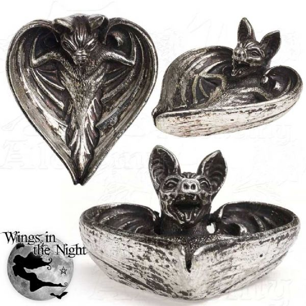 ALCHEMY GOTHIC Antique Silver Vampyr Bat Trinket Dish